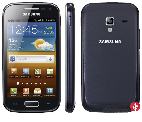 Samsung Galaxy Ace 2 front, side, back view