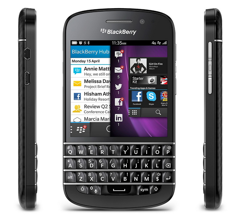 BlackBerry Q10 front and sides black