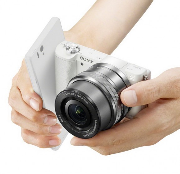 Sony A5100 in hand nfc xperia phone