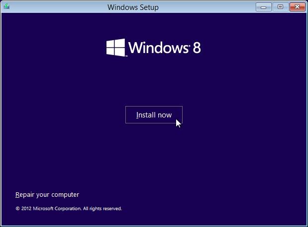 Installing windows 8