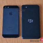 BlackBerry Z10 versus iphone 5 back