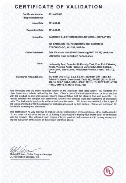 Certificatul acordat de UL