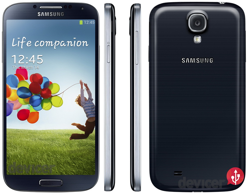 Samsung Galaxy S 4 black front side and back