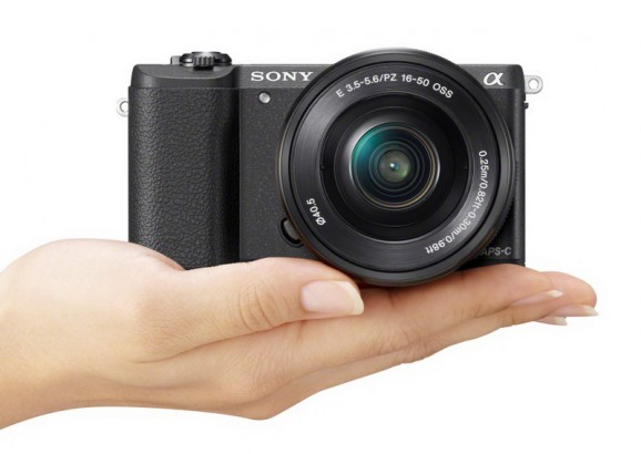 Sony A5100 in hand